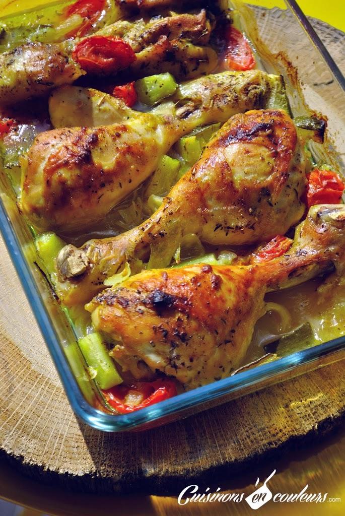 Cuisses de poulet marin es la savora et au citron - Cuisse de poulet au four moutarde ...