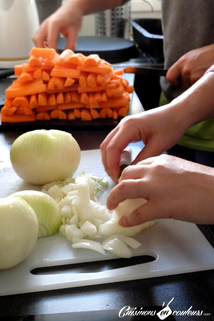 coupage de légumes pour le tajine de carottes