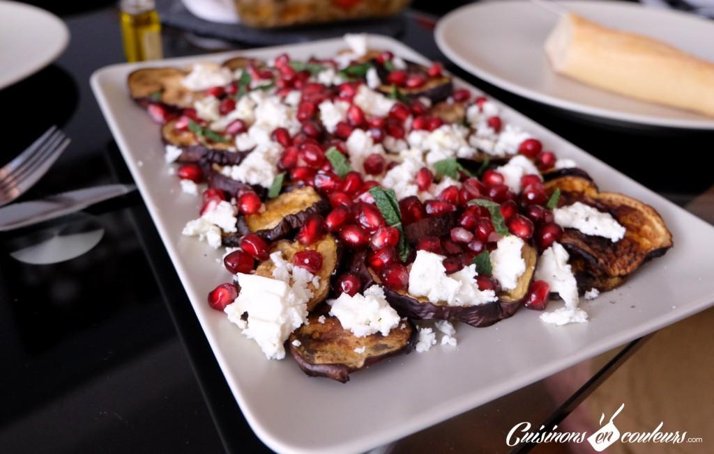 Cuisinons En Couleurs - Salade d'aubergines à la feta et aux graines de grenade