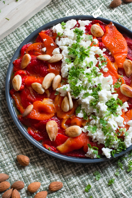 Salade de poivrons grill s la feta et aux amandes cuisinons en couleurs - Salade de poivron grille ...
