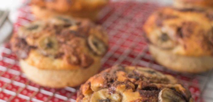 Muffins à la banane et à la pâte à tartiner noisettes