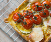Quiche aux tomates cerises, courgette et fromage de chèvre