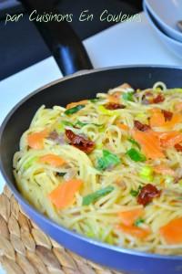 DSC_0696-200x300 - Spaghetti au saumon fumé, poireau et tomates séchées