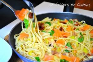 DSC_0710-300x200 - Spaghetti au saumon fumé, poireau et tomates séchées