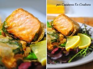 saumon-salade-300x222 - Pavé de saumon en papillote de brick