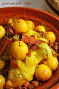tajine-aux-pommes1-200x300 - Tajine de poulet aux petiotes, oignons et raisins secs