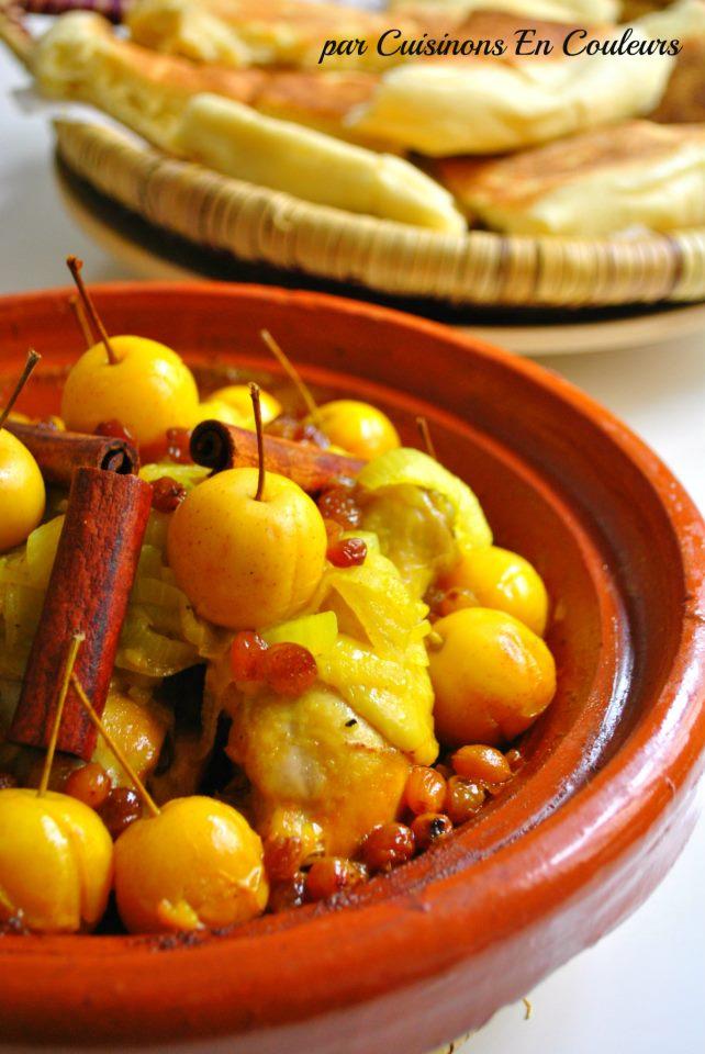 tajine-pommes - Tajine de poulet aux petiotes, oignons et raisins secs