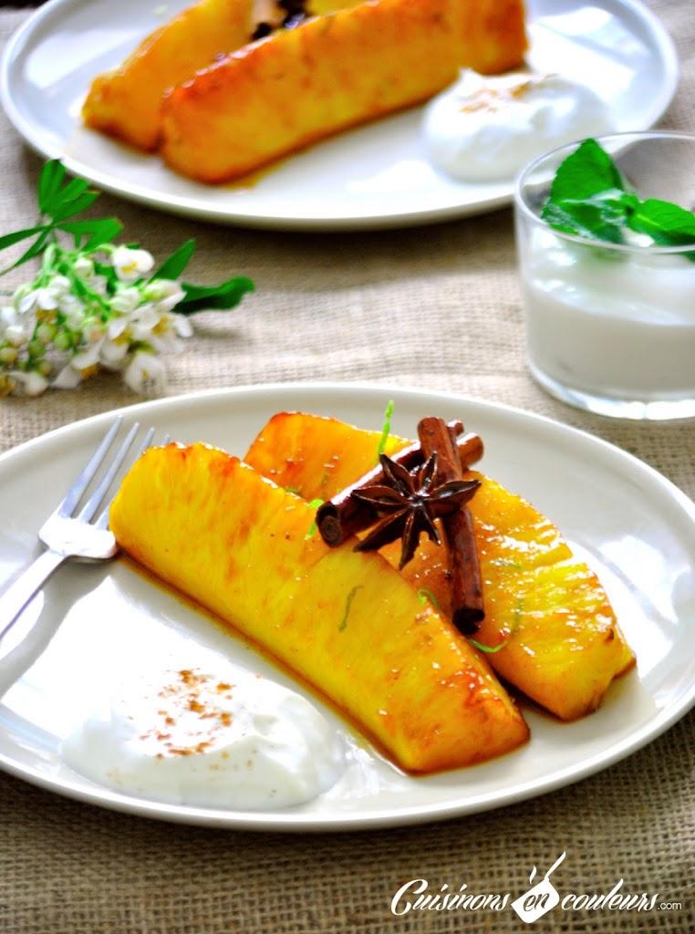 ananas-aux-epices - Ananas épicé et fromage blanc à la cannelle