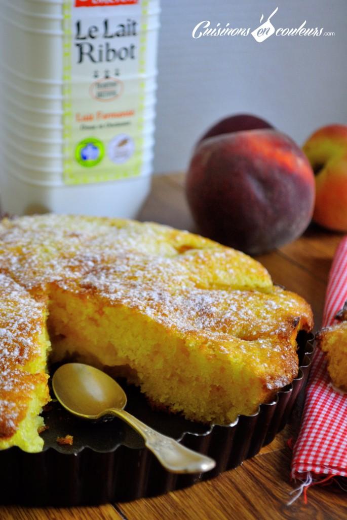 gateau-peches-1-685x1024 - Gâteau aux pêches et au lait ribot