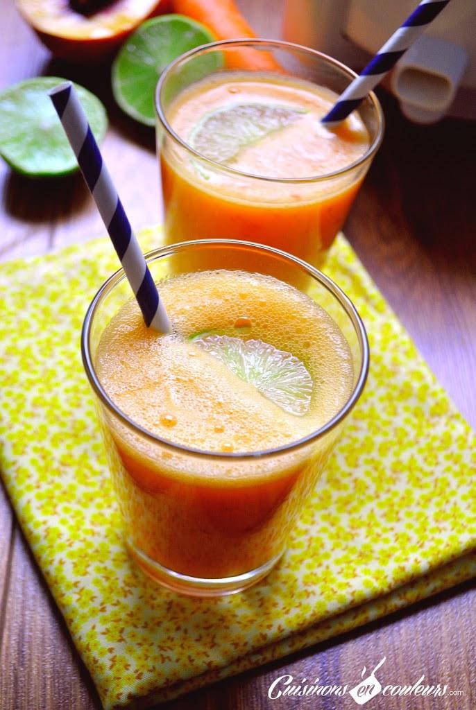jus-de-fruits - Carottes, citrons verts, pommes et nectarines : le jus de fruits qui vous donne la pêche!