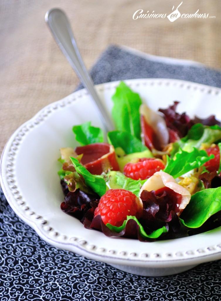 salade-magret-de-canard-framboises1-754x1024 - Salade de magret de canard séché, mozzarella et framboises