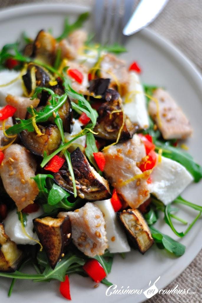 salade-poulet-aubergine - Salade de poulet au sésame, aubergine et mozzarella