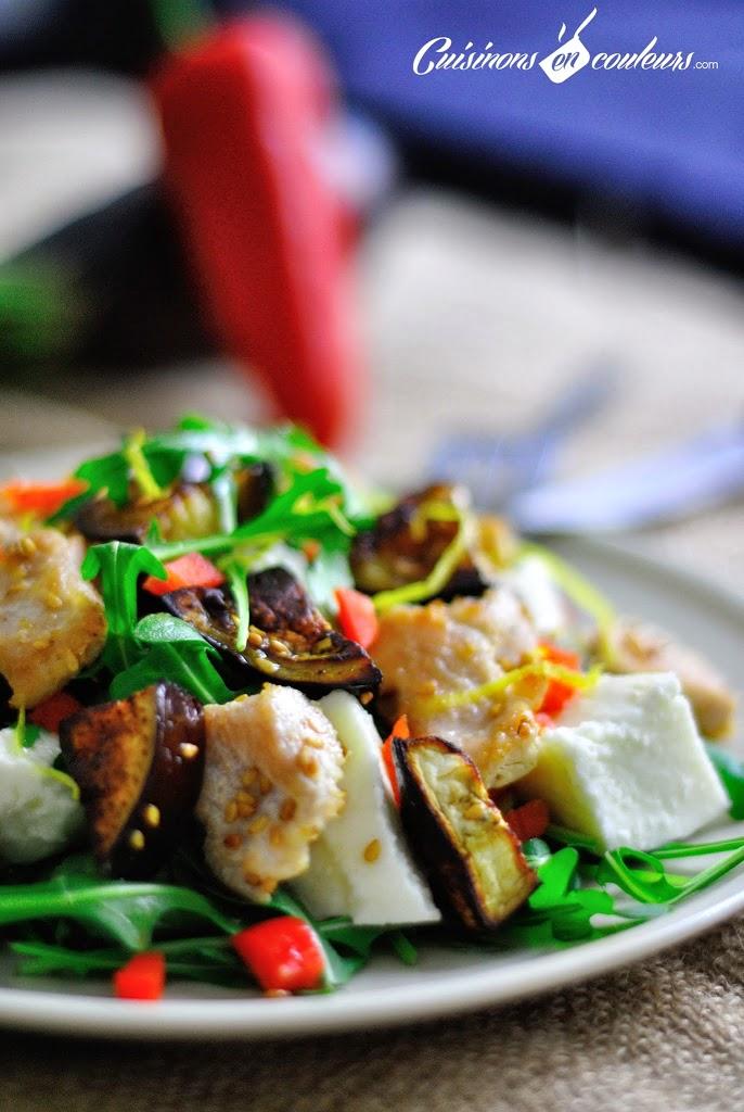 salade-poulet-sesame - Salade de poulet au sésame, aubergine et mozzarella