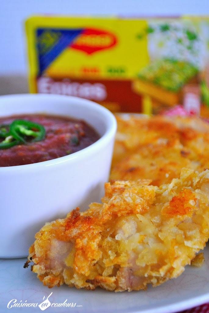 poulet-pane-CC-81-aux-chips-et-sauce-tomates-poivrons - Aiguillettes de poulet panées aux chips et sauce tomatée pour un atelier MAGGI-QUE!