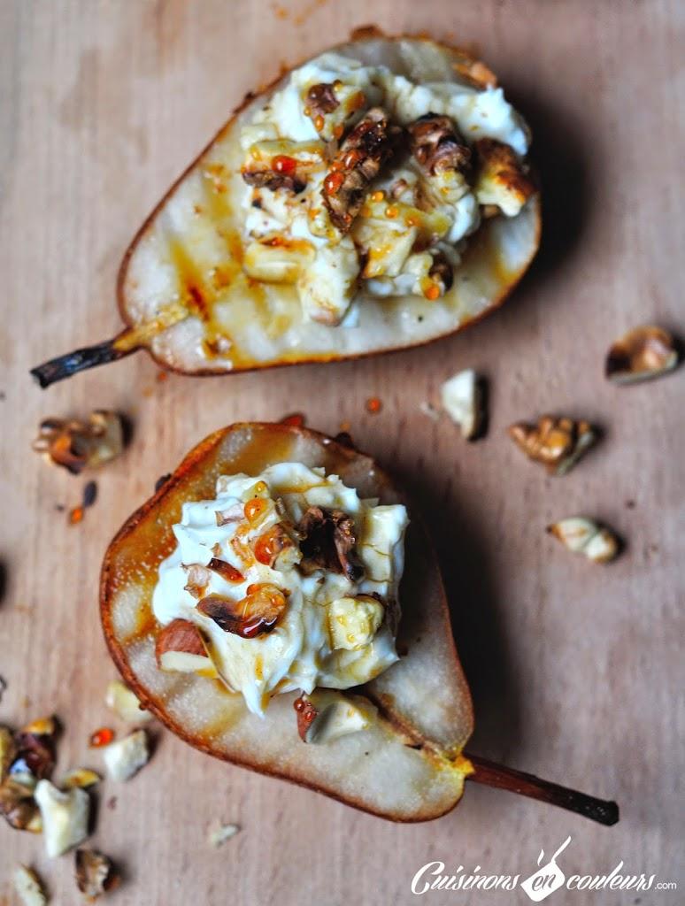 poires-roquefort - Poires grillées, crème de Roquefort, miel, noix et noisettes