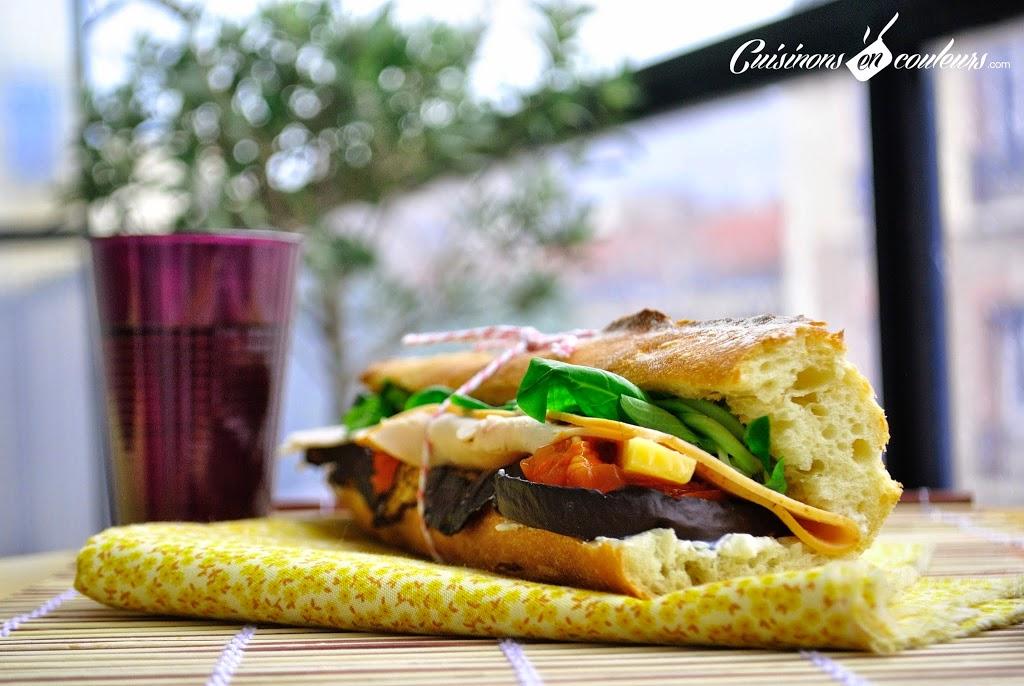 sandwich-maison - Sandwich en couleurs au poulet, à l'aubergine et la tomate