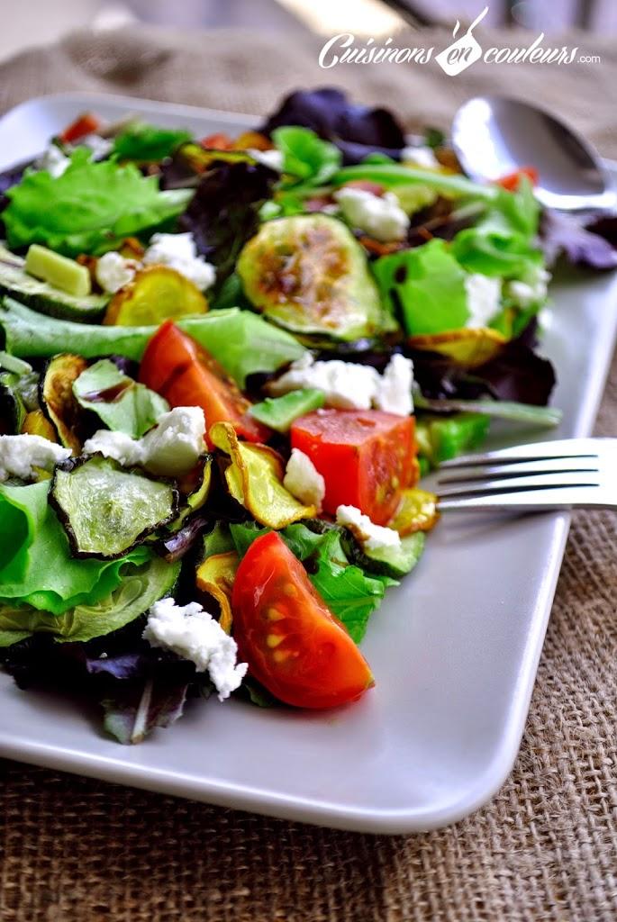 salade-de-legumes-du-soleil-grilles - Salade de courgettes grillées, tomates et fromage de chèvre : Es-tu un Veggister ?