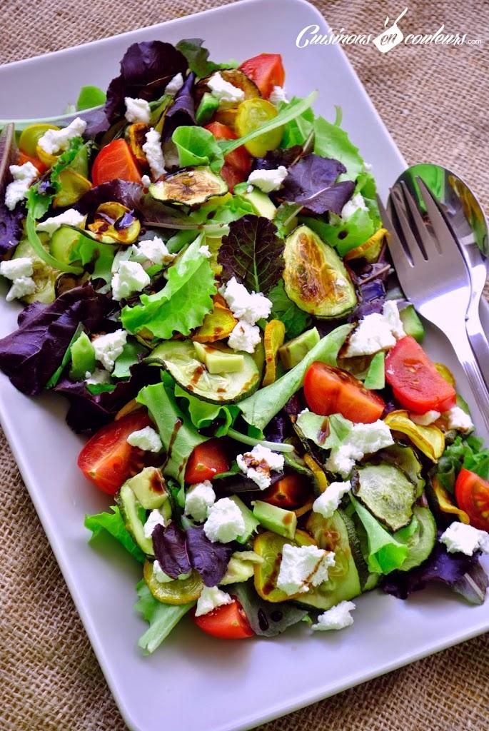salade-legumes-grilles - Salade de courgettes grillées, tomates et fromage de chèvre : Es-tu un Veggister ?