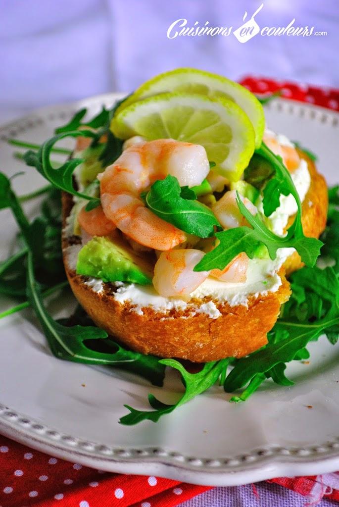 tartine-crevettes-avocat - Tartine Express au fromage frais, avocat et crevettes