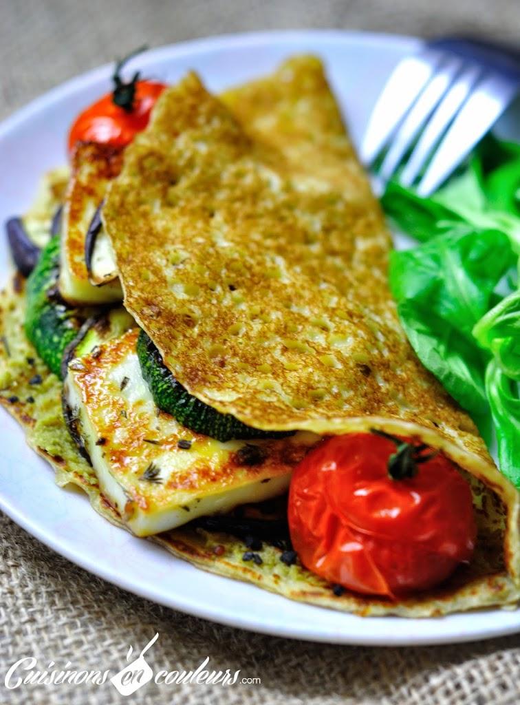 Grillis-Recette-Regions - Crêpe farcie aux légumes du soleil, au Grillis mariné au miel et au thym et à la tapenade noire