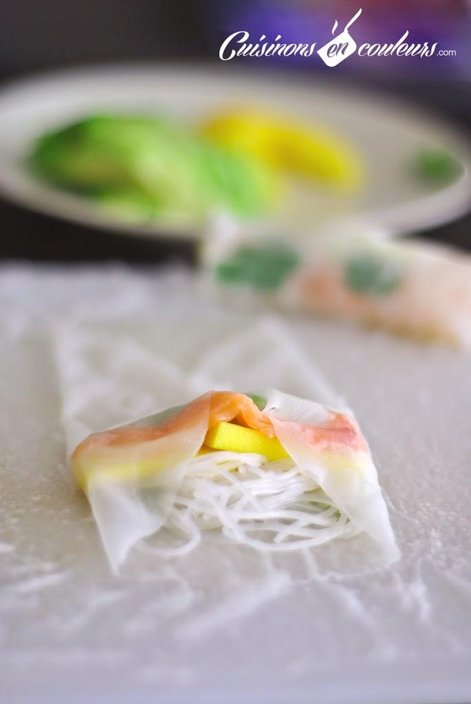 rouleau-printemps - Rouleaux de printemps au saumon fumé, à la mangue et à l'avocat