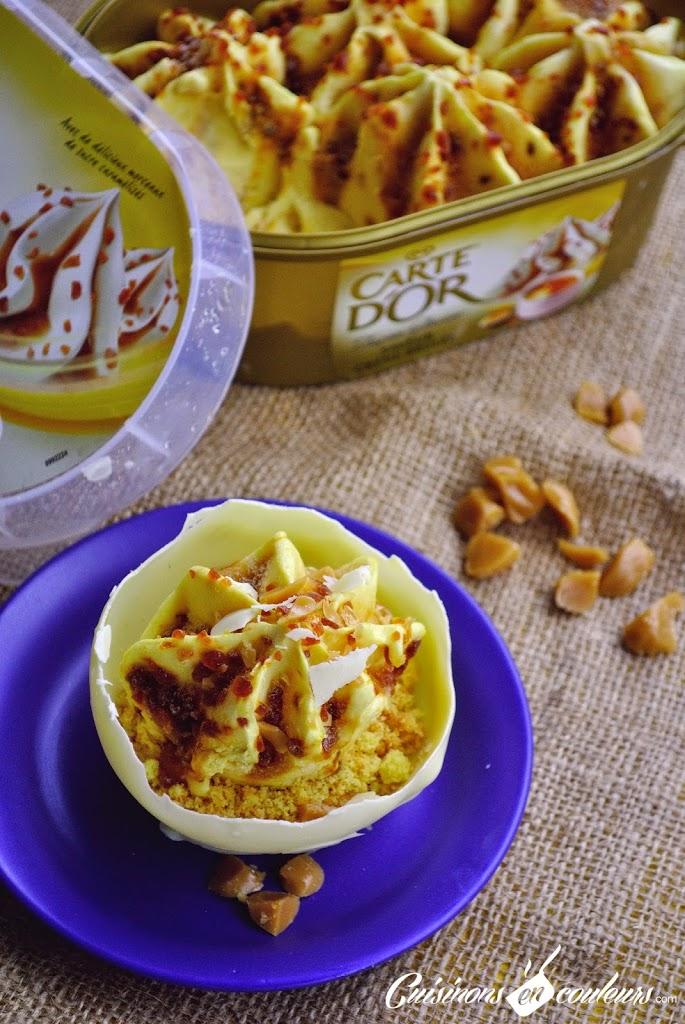 coque-chocolat-blanc-glace - Coque au chocolat blanc à la crème glacée Carte d'Or Façon Glacier Saveur Crème Brûlée