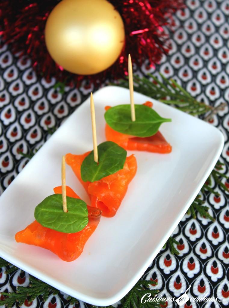 bouchee-saumon-761x1024 - Bouchées au saumon fumé, fromage frais et à la mangue
