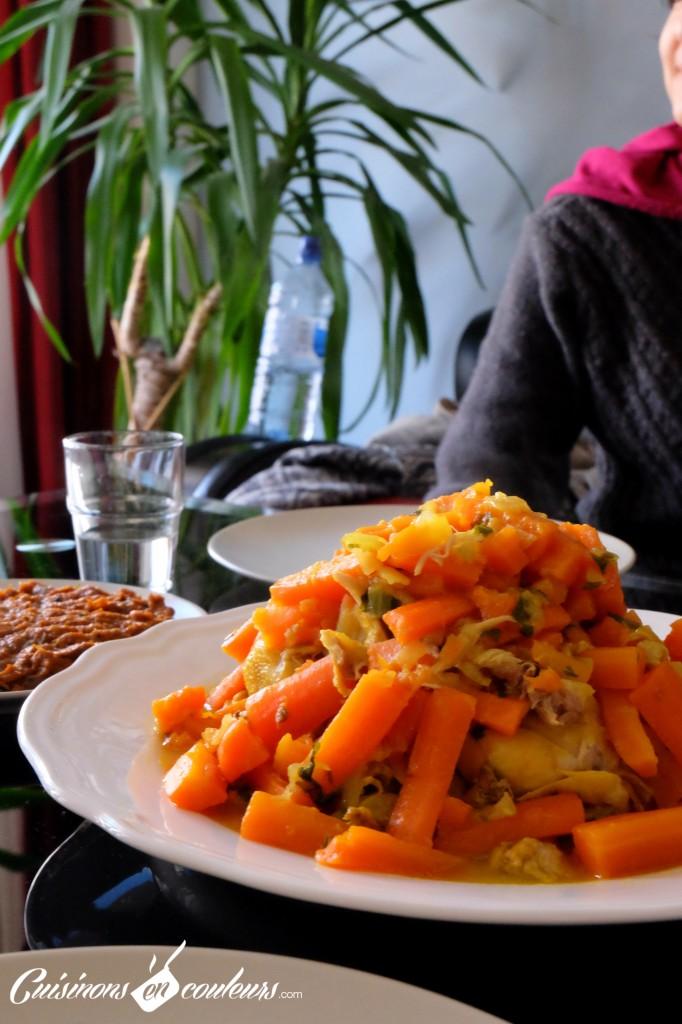 tajine-citron-confit-carottes-maroc-682x1024 - Tajine de poulet aux carottes et citron confit : Version express