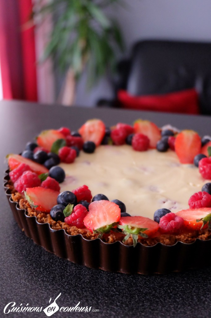 Best-Cheesecake-Pie-ever--682x1024 - Tarte façon cheesecake aux fruits rouges