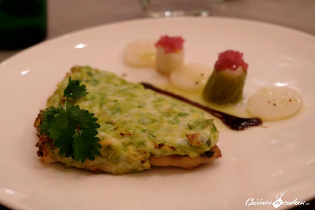 Dorade-fondue-de-poireaux-et-parmesan-palet-de-navet-et-poireaux-Le-16-Haussman-1024x682 - Le 16 Haussmann, le restaurant du Paris Marriott Opéra Ambassador