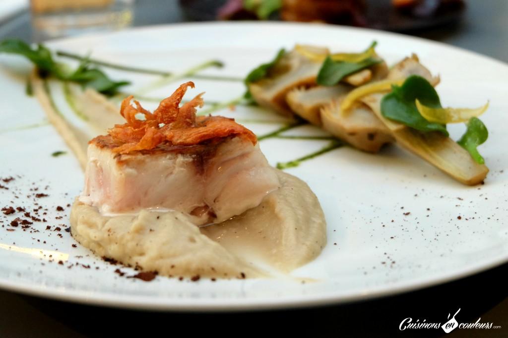 Maigre-artichaut-coriandre-1024x682 - Le Pas Sage, un restaurant sous la verrière du passage du Grand Cerf