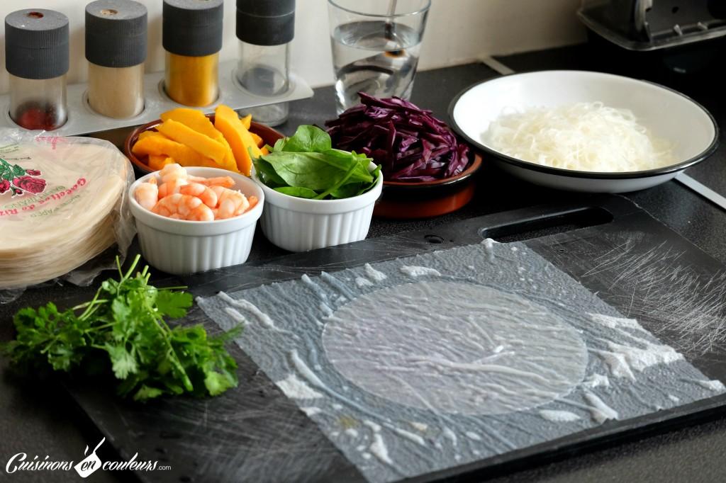 Preparation-des-rouleaux-de-printemps-1024x682 - Rouleaux de printemps aux crevettes, au chou rouge et à la mangue