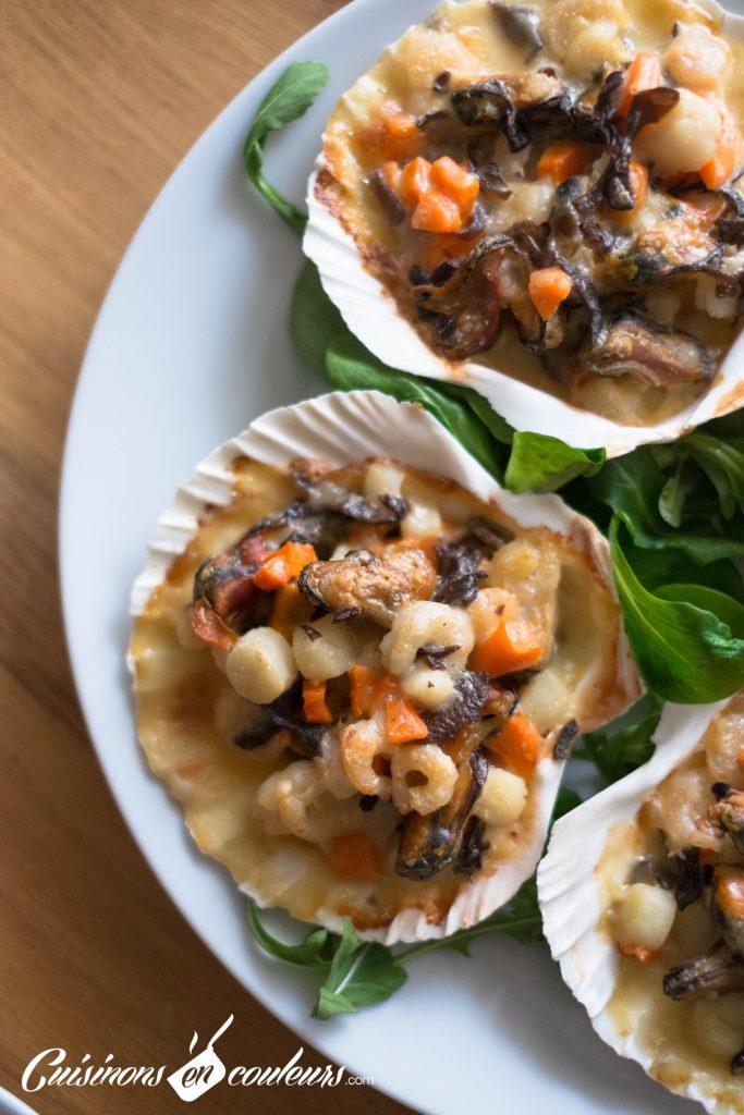 Gratin-de-fruits-de-mer-683x1024 - Coquilles Saint Jacques aux fruits de mer et aux pleurotes