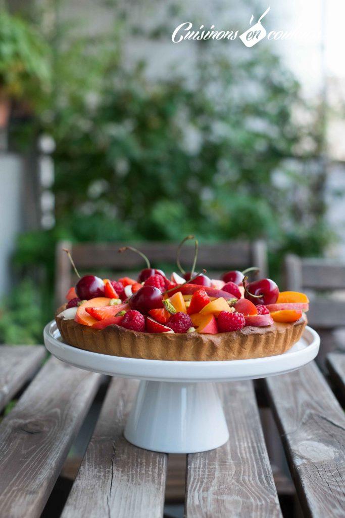 Tarte-aux-fruits-frais-4-683x1024 - Tarte aux fruits et à la crème pâtissière à la vanille