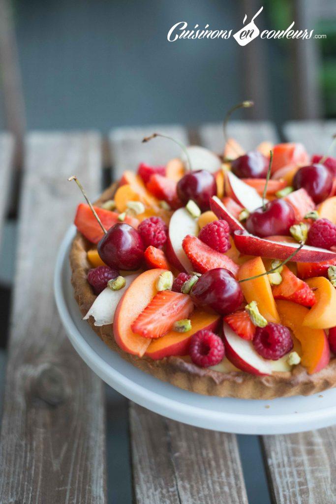 Tarte-aux-fruits-frais-6-683x1024 - Tarte aux fruits et à la crème pâtissière à la vanille