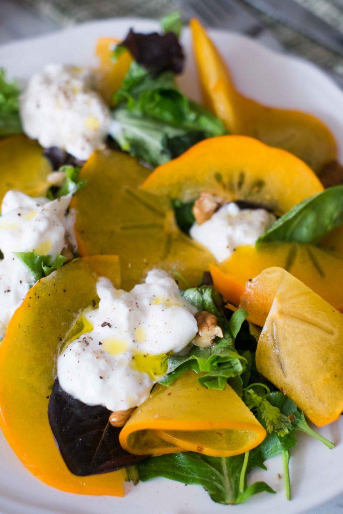 salade-buratta-et-kaki-4-683x1024 - Salade de kaki, burrata et noix
