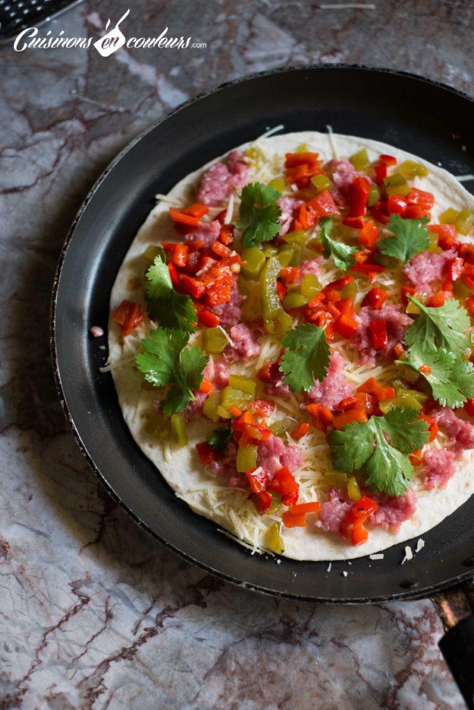 quesadillas-4-683x1024 - Quesadillas à la viande hachée et aux poivrons