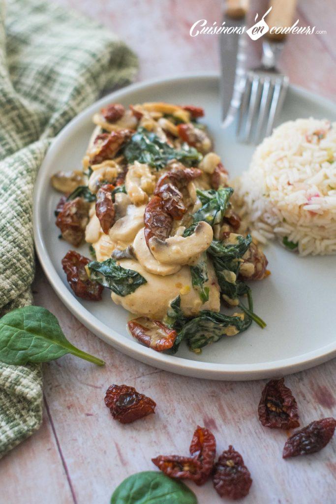 Poulet-champignons-epinards-tomates-sechees-6-683x1024 - Poulet à la crème, aux épinards et aux tomates séchées