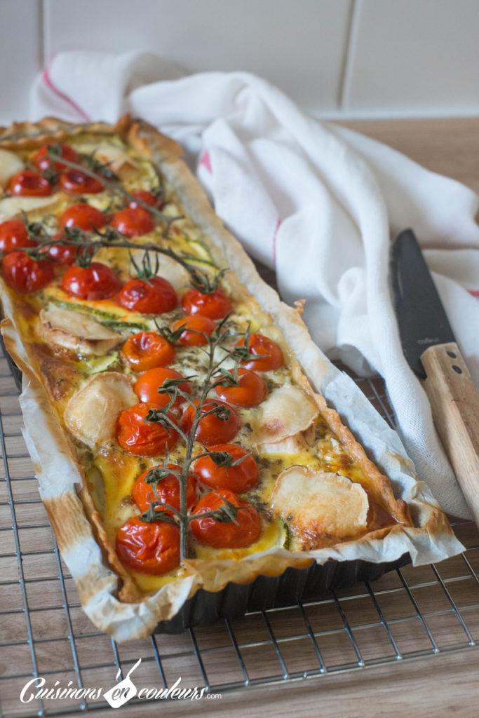 Quiche-tomates-9-683x1024 - Quiche aux tomates cerises, courgette et fromage de chèvre