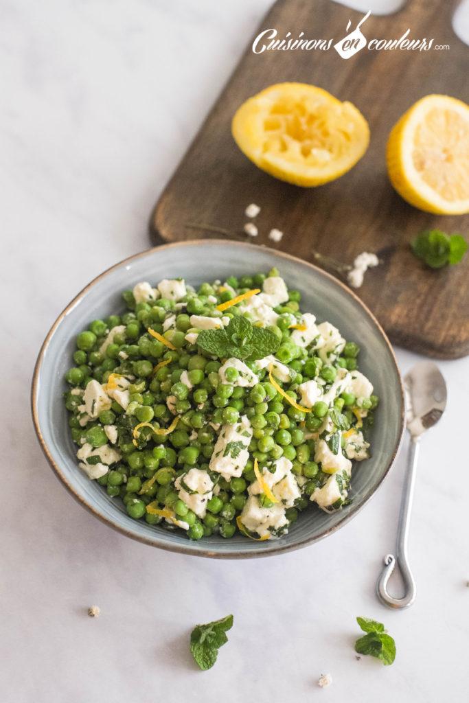 Salade-de-petits-pois-4-683x1024 - Salade de petits pois à la feta, zestes de citron et menthe