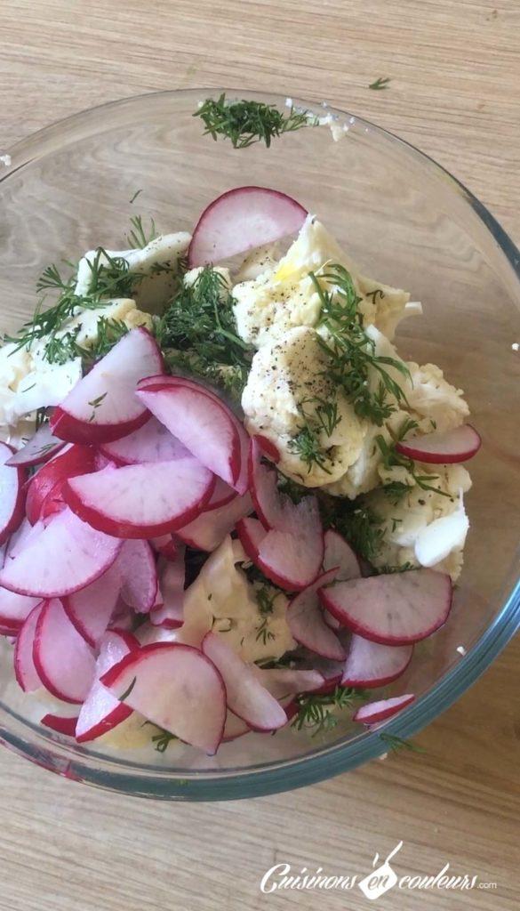 Chou-fleur-salade-6-585x1024 - Salade de chou fleur et radis à l'aneth