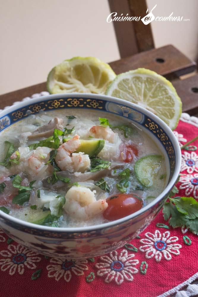 Soupe-crevette-lait-de-coco-2 - Soupe thaï aux crevettes, vermicelles de Chine et lait de coco