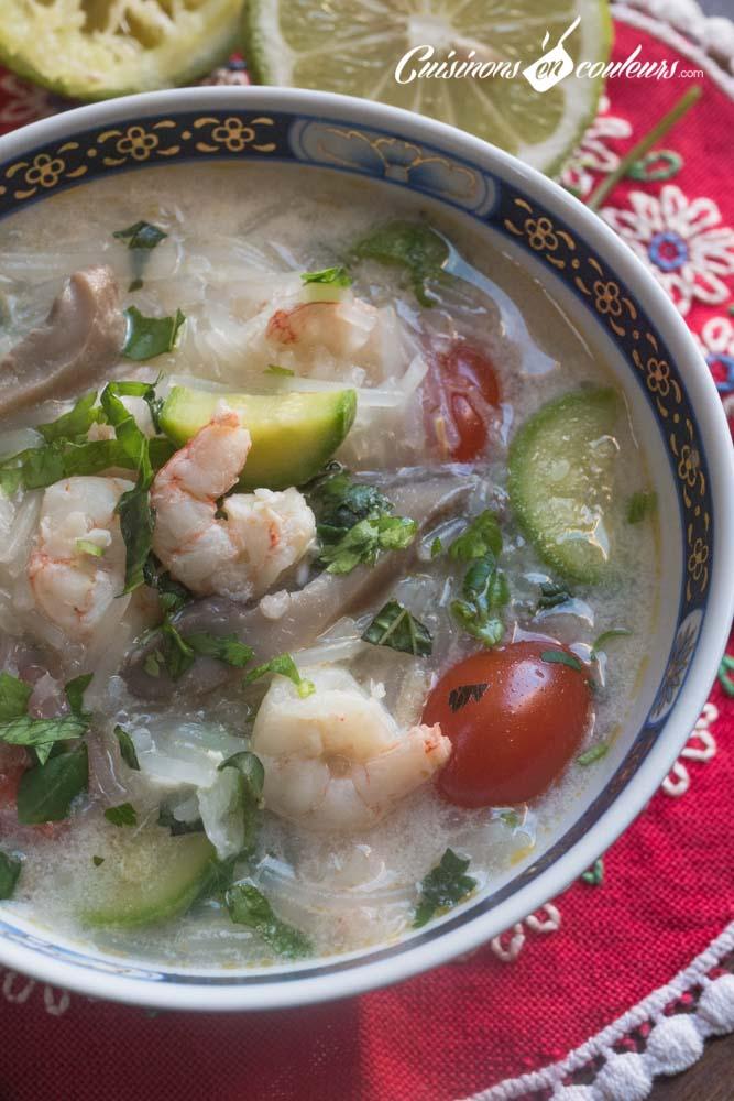 soupe-thai-curry-crevettes-3 - Soupe thaï aux crevettes, vermicelles de Chine et lait de coco