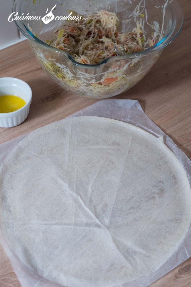 pastilla-a-la-truite-8 - Pastilla à la truite fumée, poireaux et tomates séchées