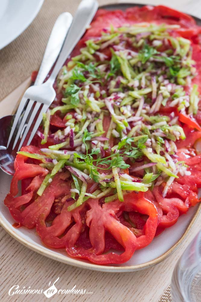 Salade-tomates-poivrons-2 - Salade de tomates, poivrons et oignon rouge au cumin