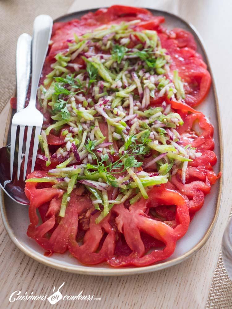 Salade-tomates-poivrons-4 - Salade de tomates, poivrons et oignon rouge au cumin