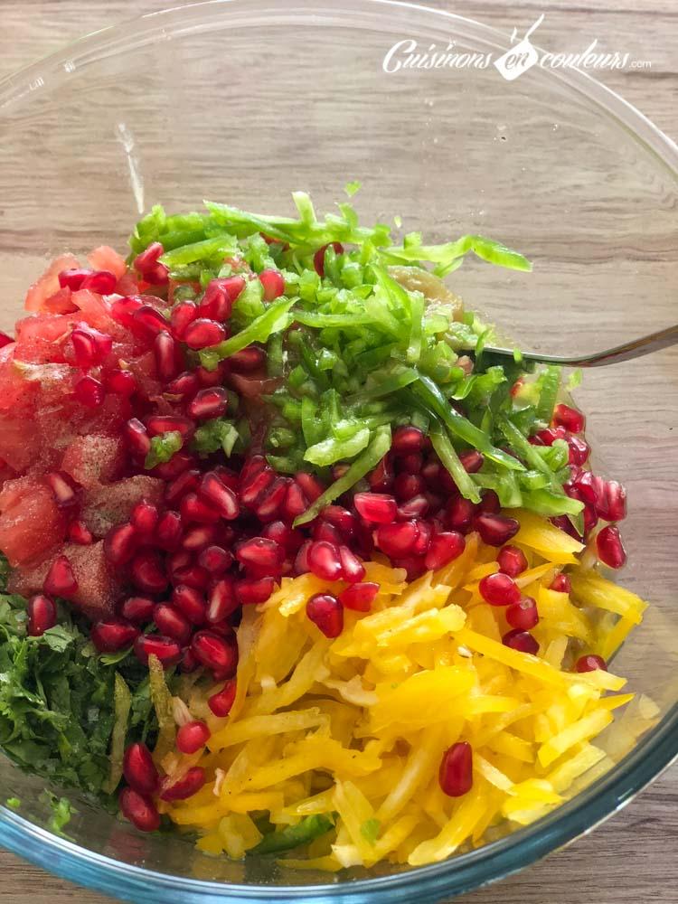 aubergines-aux-poivrons-2 - Salade d'aubergines aux tomates, poivrons et grenade (DINGUE !)