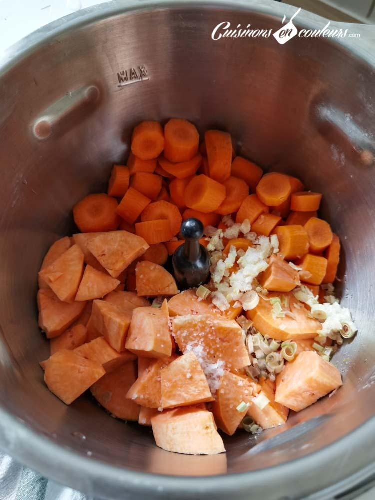soupe-carottes-coco-2 - Velouté de carottes et patates douces à la citronnelle et au lait de coco