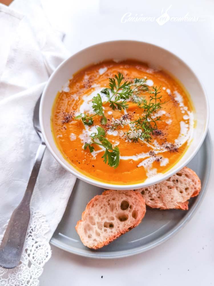 soupe-carottes-coco-4 - Velouté de carottes et patates douces à la citronnelle et au lait de coco