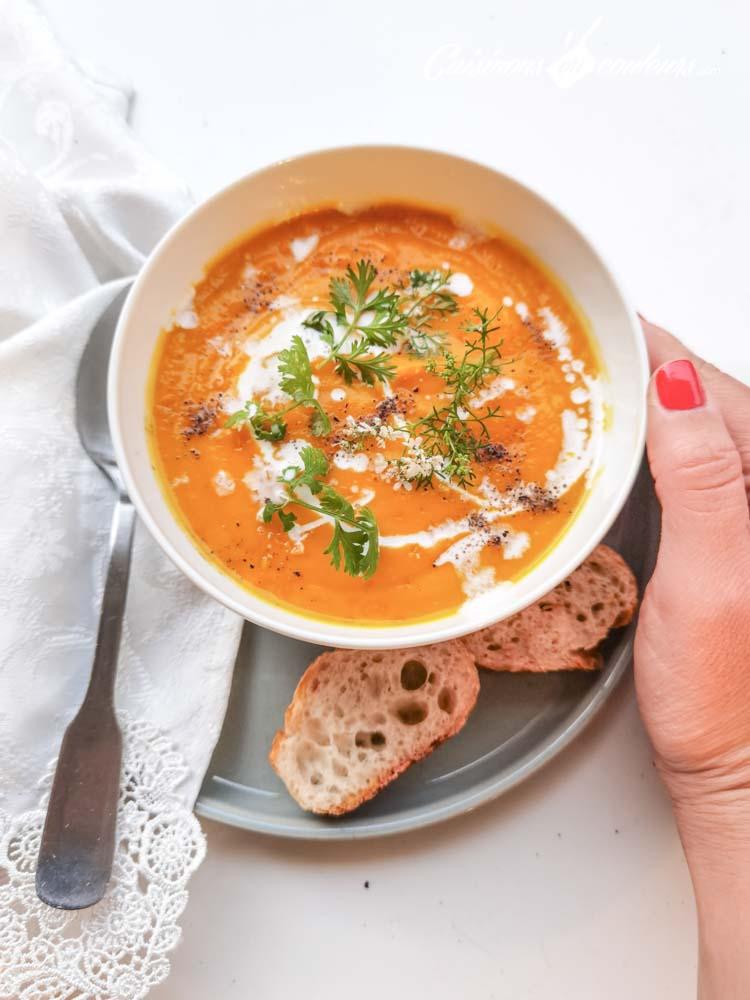 soupe-carottes-coco-6 - Velouté de carottes et patates douces à la citronnelle et au lait de coco